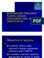Lecture 15 -17 Wastewater Treatment Plants, Design Considerations, And Case Studies (1)