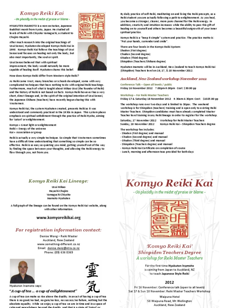 Komyo Reiki Kai Flyer | Reiki | Indian Religions