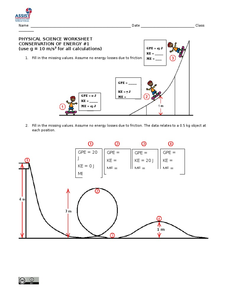 Conservation of Energy Worksheet #1_1 | Potential Energy | Mass