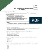 Prueba Diagnostico Matematica 8vo