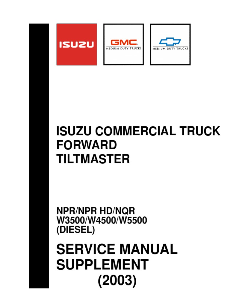Isuzu Commercial Truck Forward Tiltmaster Service Manual