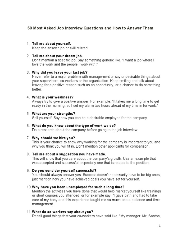 50 most asked job interview questions and how to answer them2