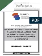 Licenciamiento Institucional a la Universidad Antonio Ruiz de Montoya