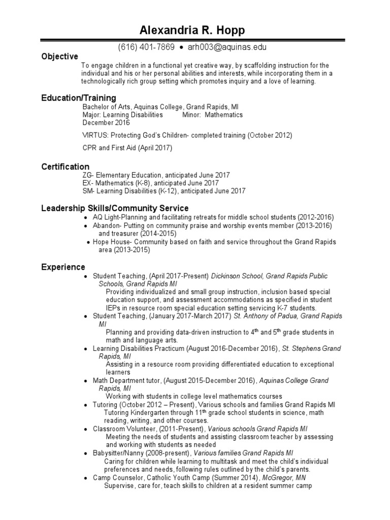 Hopp resume learning disability special education xflitez Gallery