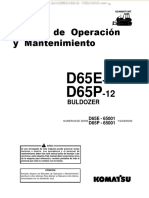 Manual Operacion Mantenimiento Tractor Oruga Bulldozer d65e12 d65p12 Komatsu
