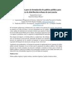 Uso de Datos Para Diseño de PPL en Corredores de Distribución Urbana