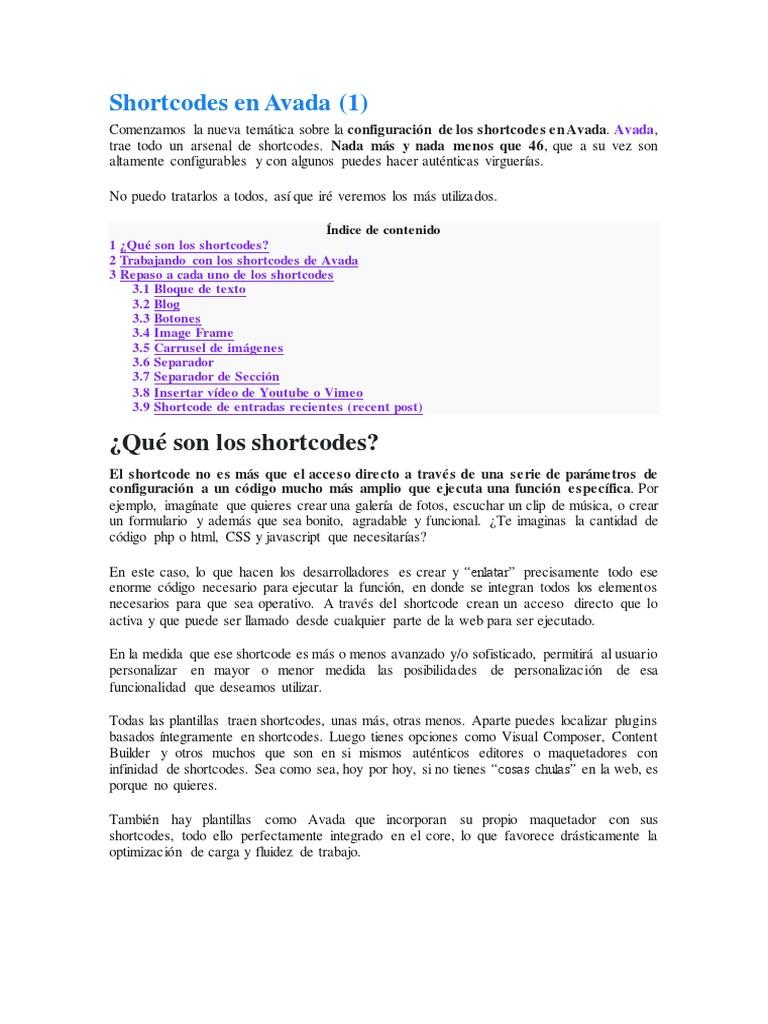 Shortcodes en Avada