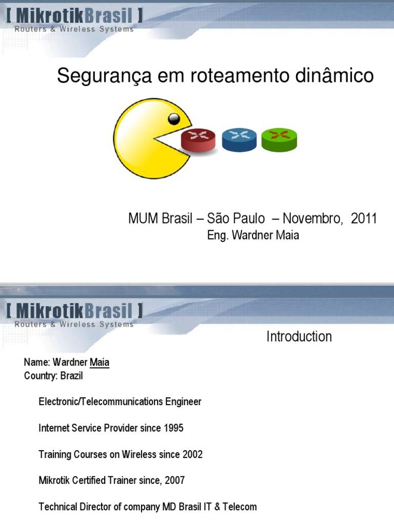 Routing Security - MUM - MikroTik pdf | Routing | Transmission