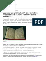 Coranul Din Birmingham o Noua Relicva Religioasa Care Ar Putea Rescrie Istoria Islamului