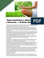 Como Controlar a Ansiedade e o Estresse