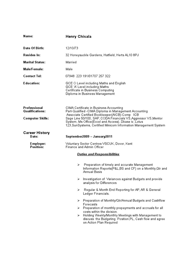 Beautiful Cima Certificate In Business Accounting Resume Elaboration ...
