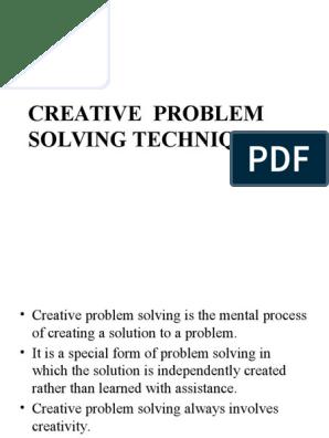 Creative Problem Solving Techniques   Creativity   Brainstorming