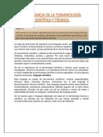 IMPORTANCIA DE LA TERMINOLOGÍA CIENTÍFICA Y TÉCNICA