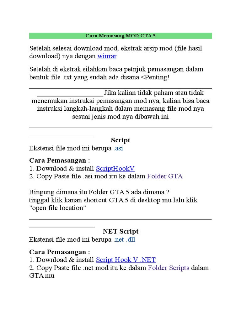 Cara Memasang MOD GTA 5