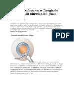 Facoemulsificacion o Cirugía de Catarata Con Ultrasonido