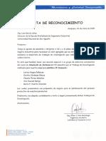 Carta de Reconocimiento - Ladillería El Diamante