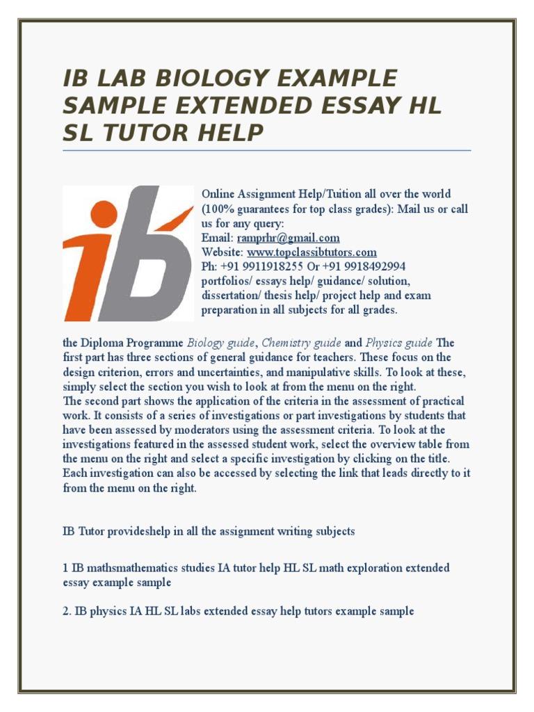 Extended Essay Example   Ib Lab Biology Example Sample Extended Essay Hl Sl Tutor Help
