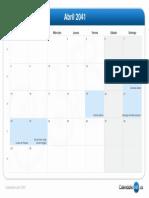 Calendario Abril 2041