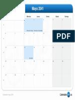 Calendario Mayo 2041