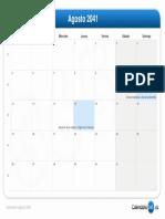 Calendario Agosto 2041