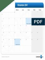 Calendario Diciembre 2041