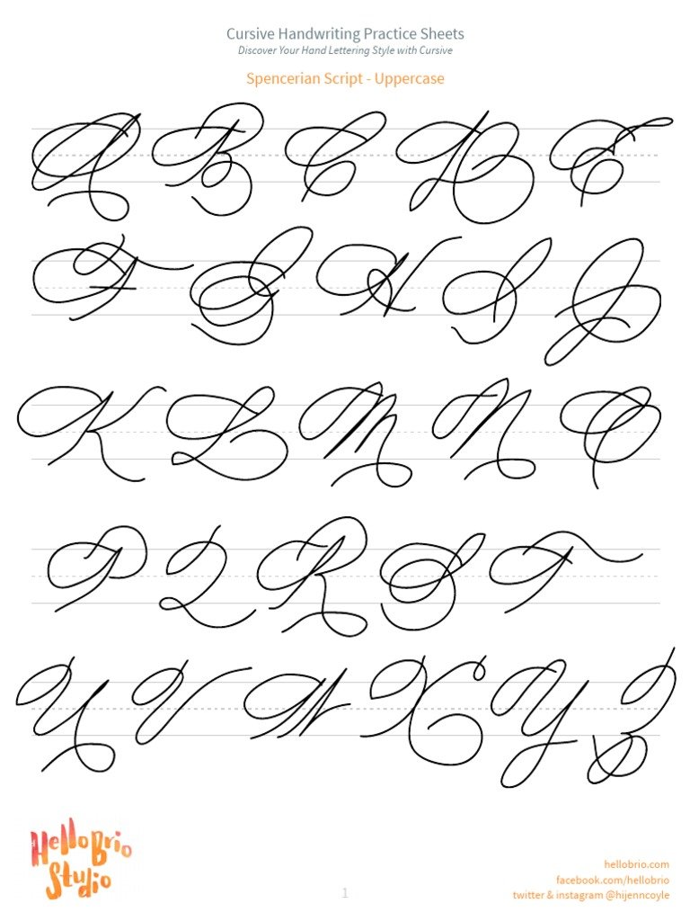 Hello Brio Cursive Handwriting Practice Sheets