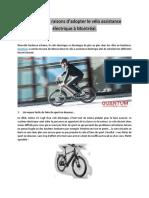 Cinq Autres Raisons d'Adopter Le Vélo Assistance Électrique à Montréal.
