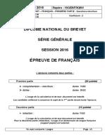 BREVET Français Juin 2016