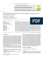 Review of the Recent Contribution of Systems Thinking to Operational Research and Management Science. European Journal of Operational Research.