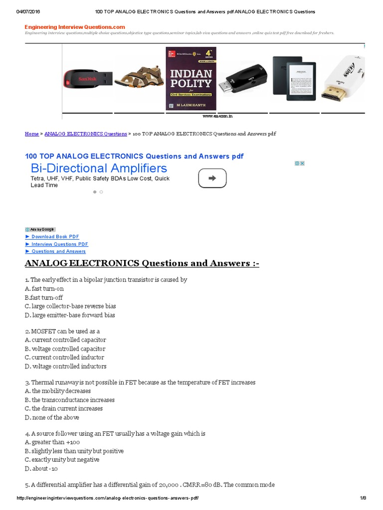 Electronics pdf analog book