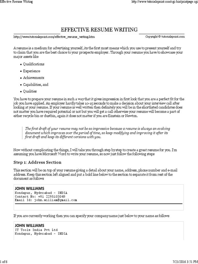 Effective Resume Writing Resume Curriculum