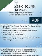 Analyze Sound Devices (Onomatopoeia, Alliteration,