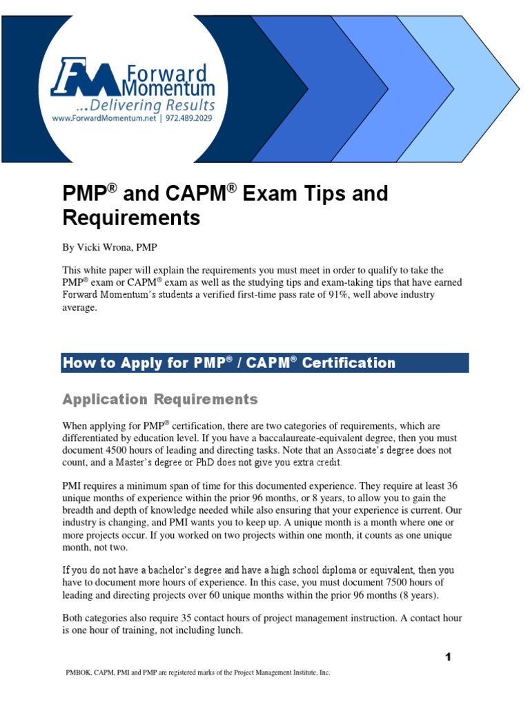 Pmp Capm Exam Tips 5th V11pdf Academic Degree Professional