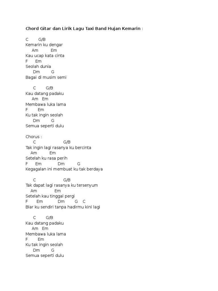 Chord Gitar Dan Lirik Lagu Taxi Band Hujan Kemarin