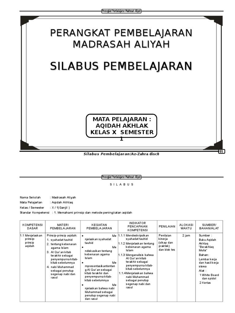 Silabus Aqidah Akhlak Ma Kelas X 1 2 Doc