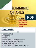 DEGUMMING OF OIL