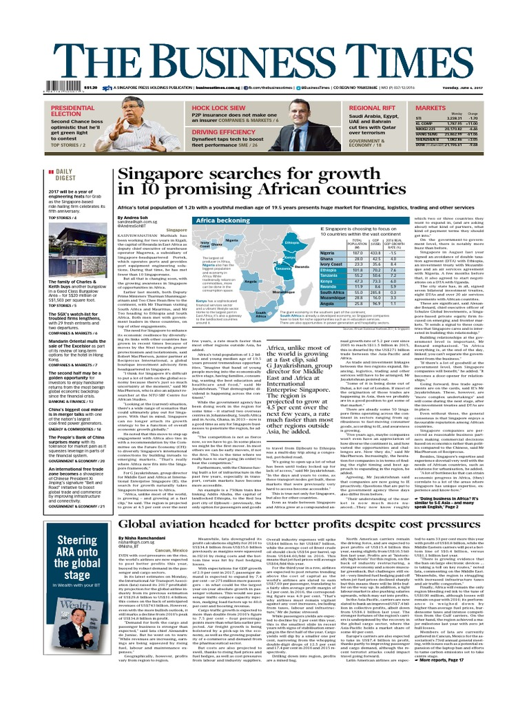 The Business Times June 6 2017 | Airlines | Singapore