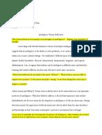 intelligence theory reflection sheet