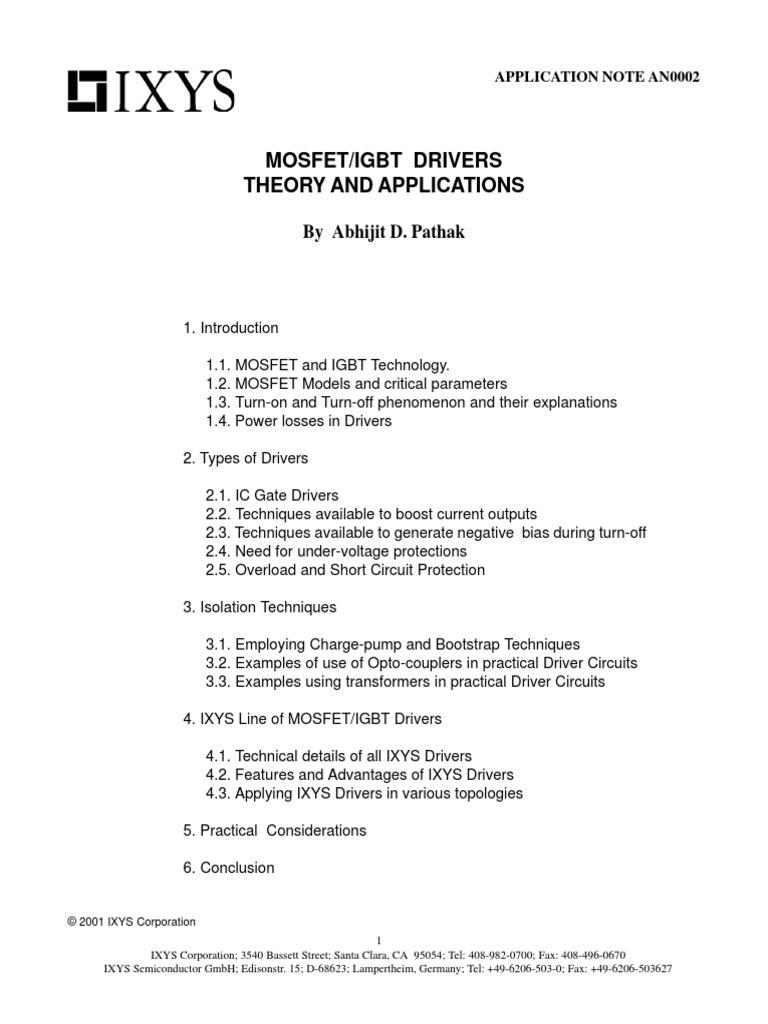 Mosfet And Igbt Drivers Theory And Application pdf | Field