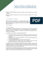 MEDIDA DE ENERGÍA, POTENCIA Y CORRECCIÓN DEL FACTOR DE POTENCIA EN CIRCUITOS MONOFÁSICOS