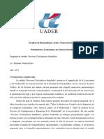 Programa de Cátedra de Procesos Civilizatorios Mundiales 2017 - Rios, Emiliano