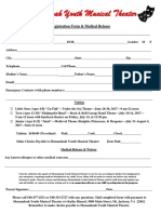 Shenandoah Youth Musical Theater Registration Form
