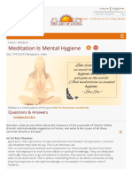 Meditation is Mental Hygiene _ Art of Living India