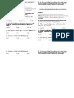 Control de Entrada Tercero Básico Matemática Divisiones