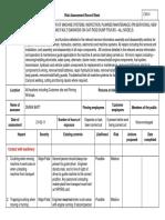 Risk Assessment sheet