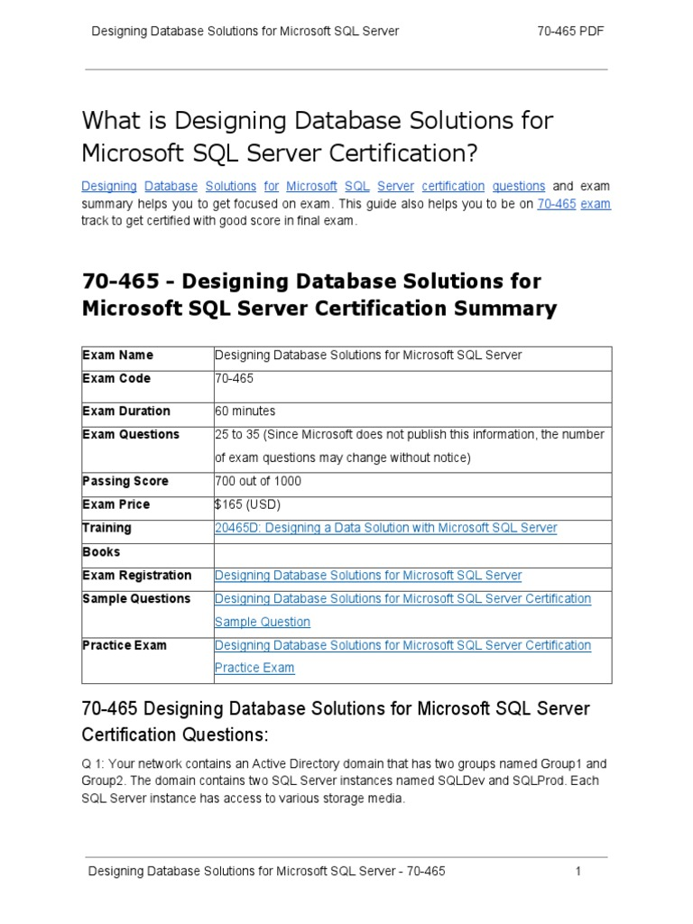 Certification Guide On Designing Database Solutions For Microsoft