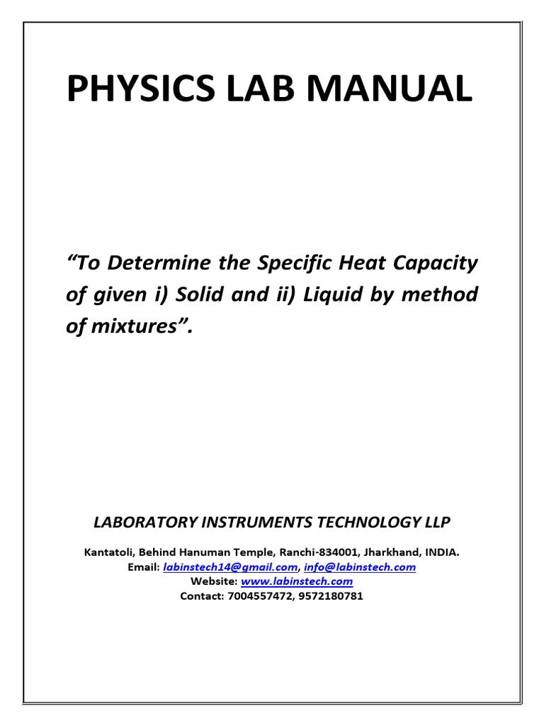 worksheet Calculating Specific Heat Worksheet to determine the specific heat capacity of solid and liquid by method mixtures temperature