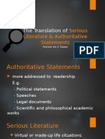 The Translation of Serious Literature & Authoritative Statements - Poetry - Patricia Iris v. Razon