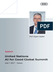 Speech Rupert Stadler at AI for Good Global Summit