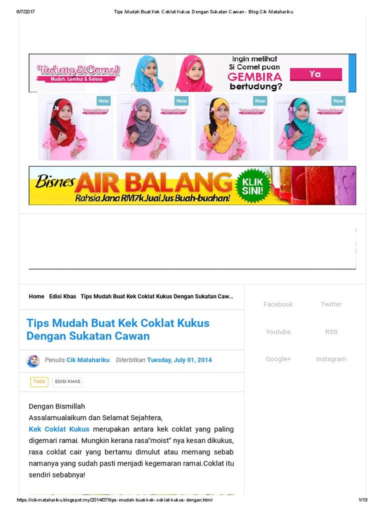 Tips Mudah Buat Kek Coklat Kukus Dengan Sukatan Cawan Blog